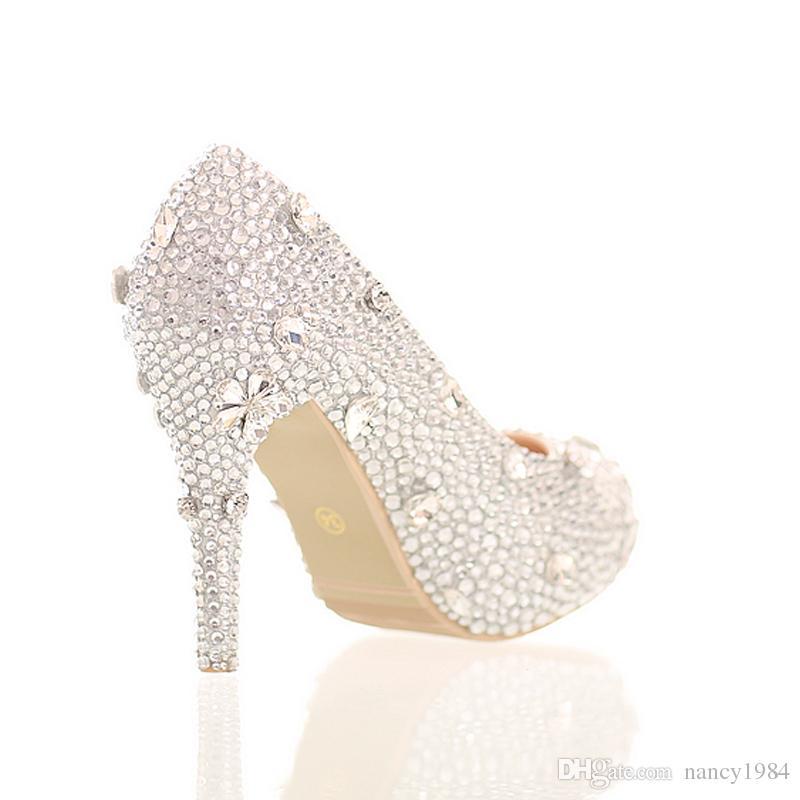 Zilver Rhinestone Prachtige Assepoester Crystal Shoes Stiletto Platform Hakken The Bride Jurk Schoenen Graduation Party Prom Schoenen