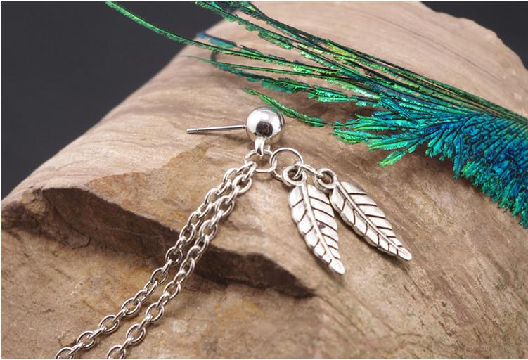 Earrings Studs Fashion Women Vintage Gold/Silver Plated Alloy Leaves Tassel Chains Ear Cuff  Wholesale Drop Shipping ER583