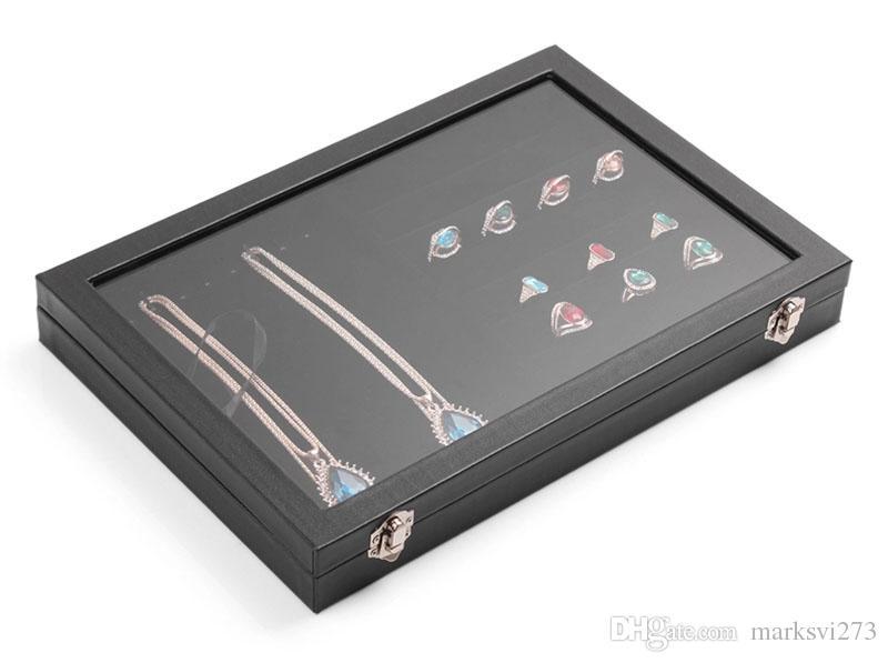 كبير غطاء زجاجي الصف العلوي صندوق مجوهرات قلائد خواتم أقراط أساور علبة تخزين مربع حامل المجوهرات