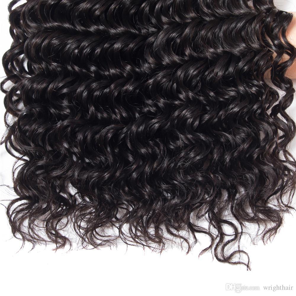 Péruvienne Deep Wave Lace Front Fronting With 3Bundles Cheveux Humains 100% Non Transformés Brésiliens Péruviens Indiens Malaisiens Deep Curly Hair