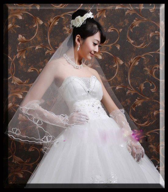 Stcok'da! En ucuz Ücretsiz Kargo Vintage Beyaz Düğün Veils Dirsek Lenth Tül Bir Katmanlı Gelin Veils Gelin Aksesuar 2017 QM