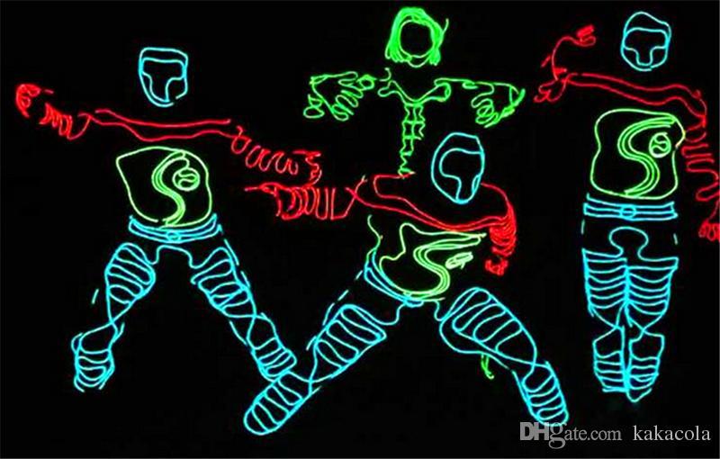 3 متر مرنة ضوء النيون الوهج el سلك حبل أنبوب مرنة ضوء النيون 8 ألوان سيارة الرقص حزب حلي + تحكم عيد الميلاد حزب ديكور ضوء