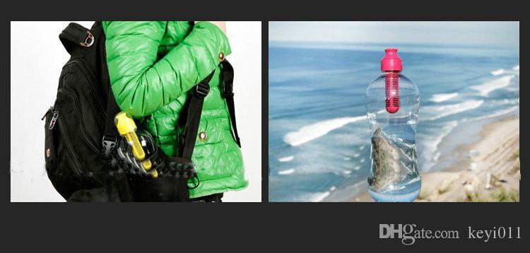 7 Cores, 550 ml Ao Ar Livre Portátil Multifuncional Camping Plástico PE Hidratação Filtrada Esportes Garrafa de Água Potável 310375-H