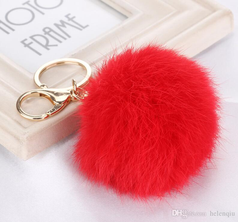 أزياء لطيف جلد طبيعي الأرنب الفراء الكرة أفخم مفتاح سلسلة مفتاح السيارة حلقة حقيبة قلادة سيارة المفاتيح الذهب والفضة سلسلة 8 سنتيمتر