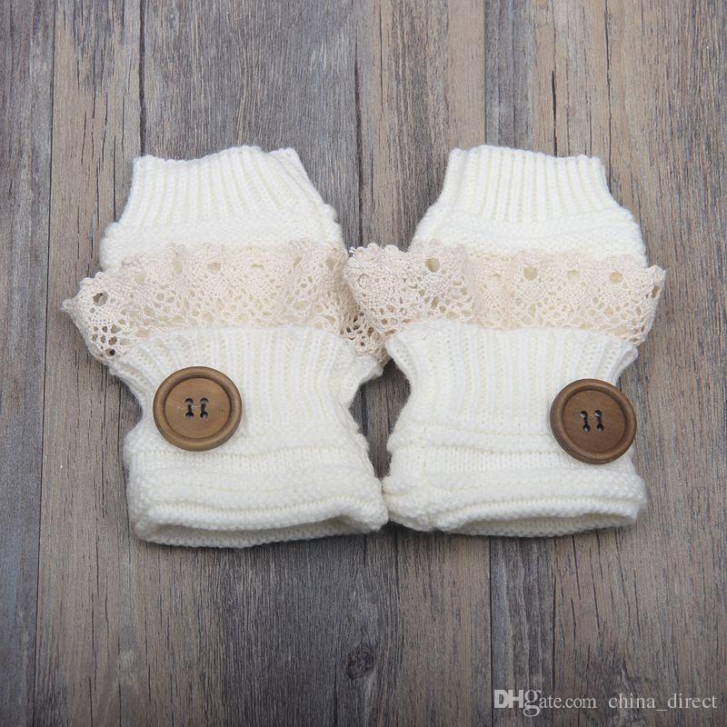 2017 الصلبة butoon الدانتيل محبوك أصابع قفازات الباليه الرقص زر قفاز الأزياء 8 ألوان # 3745