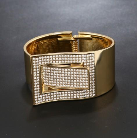 Trendy Belt Buckle ShapeWide Bangle Bracelets Gold /Silver Tone Cuff Bracelets For Womens Bangle Cuff Bracelets