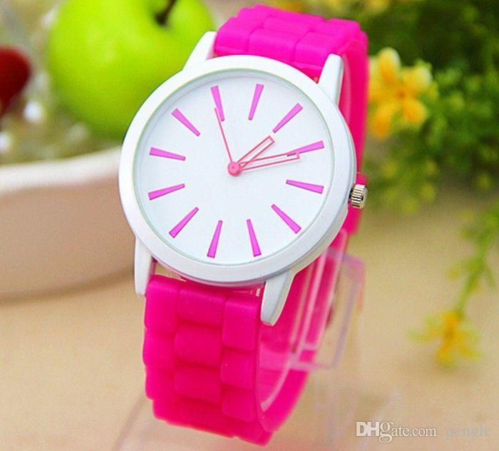 ニューファッションジュネーブシリコーンラインストーンゼリー腕時計ウォッチクォーツ移動カラフルな高品質女性ドレスギフトウォッチ送料無料