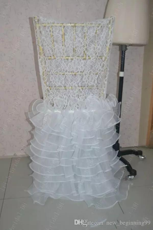 2018 Custom Made Lace Ruffles Chair Covers Romantic Beautiful Organza Crystal Chair Sashes Cheap Wedding Chair Decorations 08