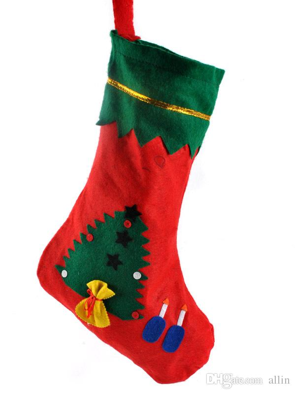 red santa socks christmas decoration supplies 35cm 25cm cloth