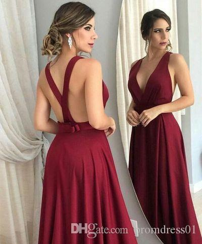 Hot Selling Deep V Neck Cut Low Burgundy Long Prom Dresses Evening Dresses with Bowknot for Women In Stock