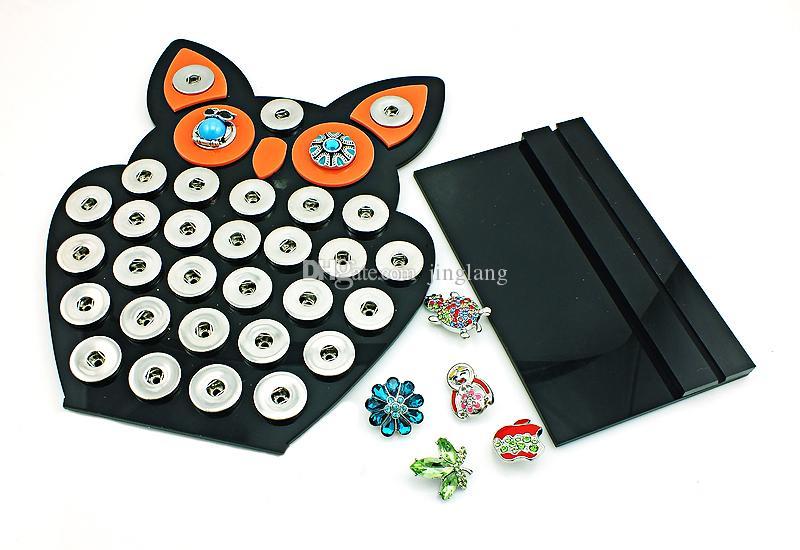 Новое прибытие 18 мм Оснастки кнопки дисплея стенды Сова черный акриловые взаимозаменяемые кнопки ювелирные изделия дисплей доска