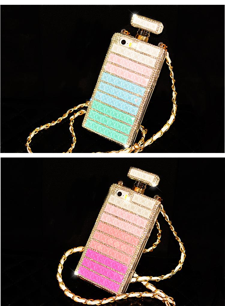 """New Luxury perfume Bottle Chain Rhinestore For Iphone 4s 5s Iphone 6 cases 4.7"""" Iphone 6 plus 5.5""""Cases Diamond cell phone cases back Cases"""