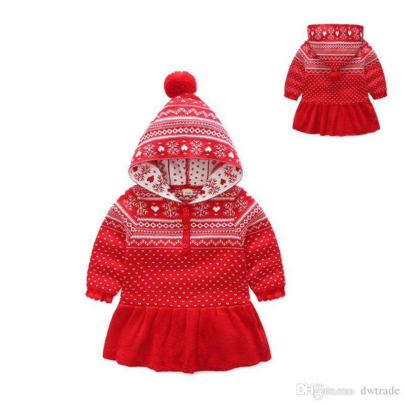 hot sale new childrens outfits christmas santa baby girl fleece cotton knitting dress snowflake kids dresses christmas fleece christmas dress knitting girl - Christmas Fleece