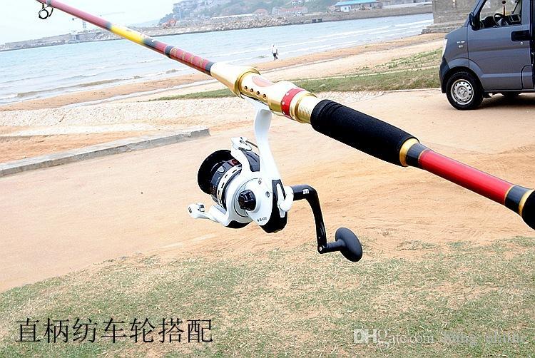 Nieuwe aankomst 1.8-2.4m Draagbare Telescopische Carbon Lokken Hengel Buiten Travel Easy Installeer Spinning Hengelijsten Apparatuur