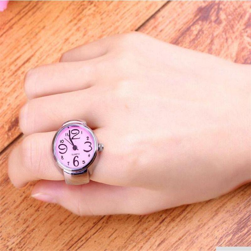 Ring Uhr Ringe Anillos Schmuck Neu Für Kreative Mode Stahl Elastische Quarz Fingerring Uhr Dame Girl Geschenk