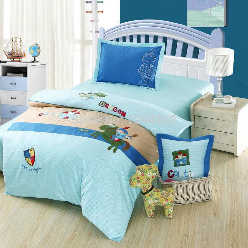 Kids Bedroom Linen kids bedding set cartoon animal child bed linen patch embroidered