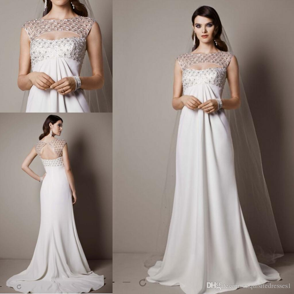 Cheap Sexy Wedding Dresses Cap Sleeve Crepe Sheath Gown With ...