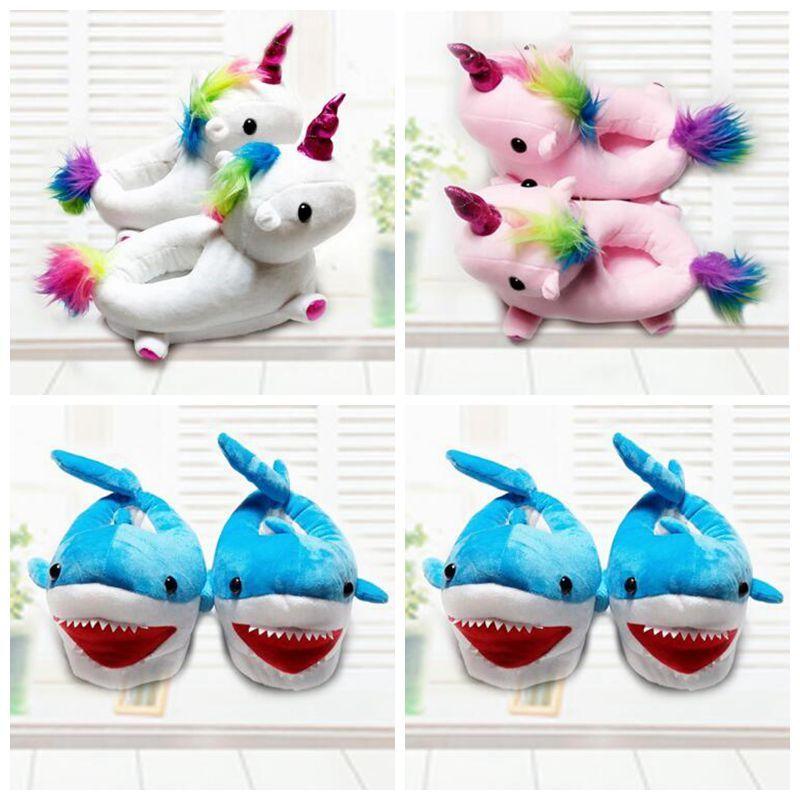 edc86ce7cc2 19cm Unicorn Plush Slippers Unicorn Warm Household Winter Shark ...
