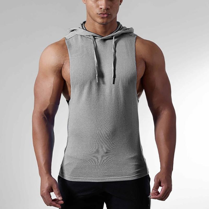 2 Parça Spor erkek Stringer Vücut Tank Top Fitness Slim Fit Yelek Katı Spor Pamuk Atlet Tankları Spor Giysi Tankları