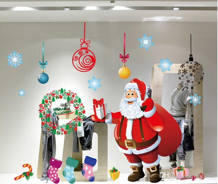 Christmas Party Home Decorations Diy Removeable Wall Art Sticker Shop  Window Xmas Decor 60x90 Luxury Christmas Decorations Make Christmas  Decorations From ...