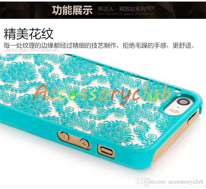 Damasco de la vendimia Mandala Datura Henna Wind Chime Flower mate PC de plástico duro translúcido caso de la cubierta para el iPhone 5 5S 6 Plus 6plus iPhone6