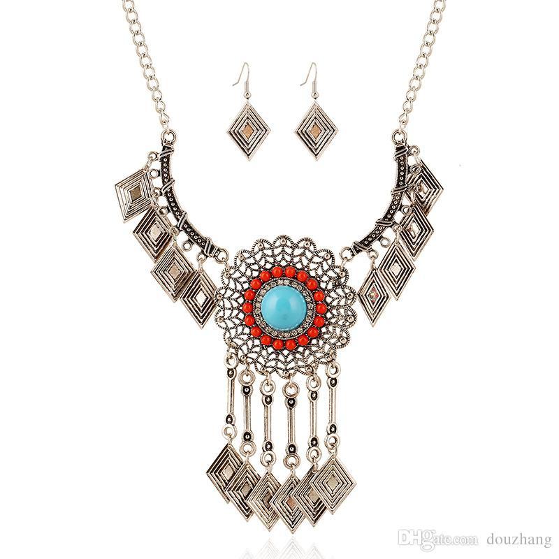 Bohemian Rhinestone Resin Gem Big Flower Rhombus Tassel Necklace Earring Set Ethnic Geometric Jewelry Set