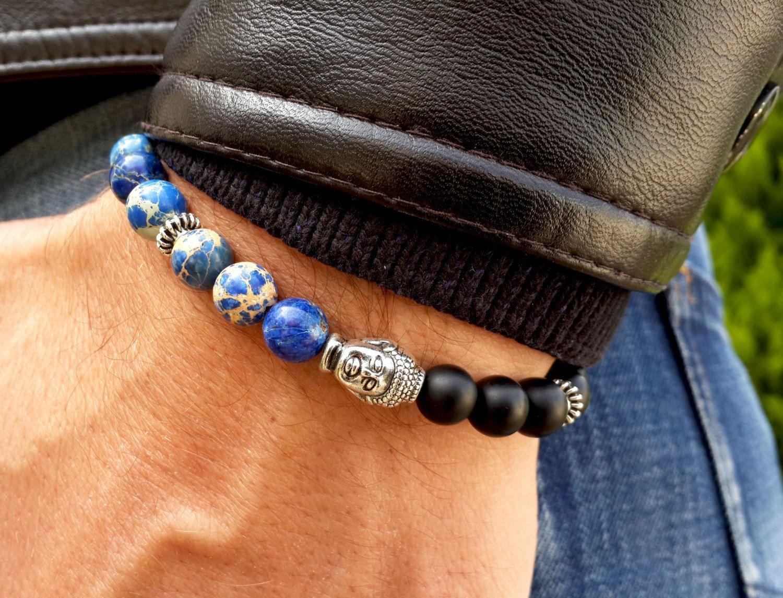 SN0268 Heren Boeddha Mala Armband Imperial Blue Jasper Black Onyx Boheemse Boeddhistische Gebed Bead Armband Gratis verzending