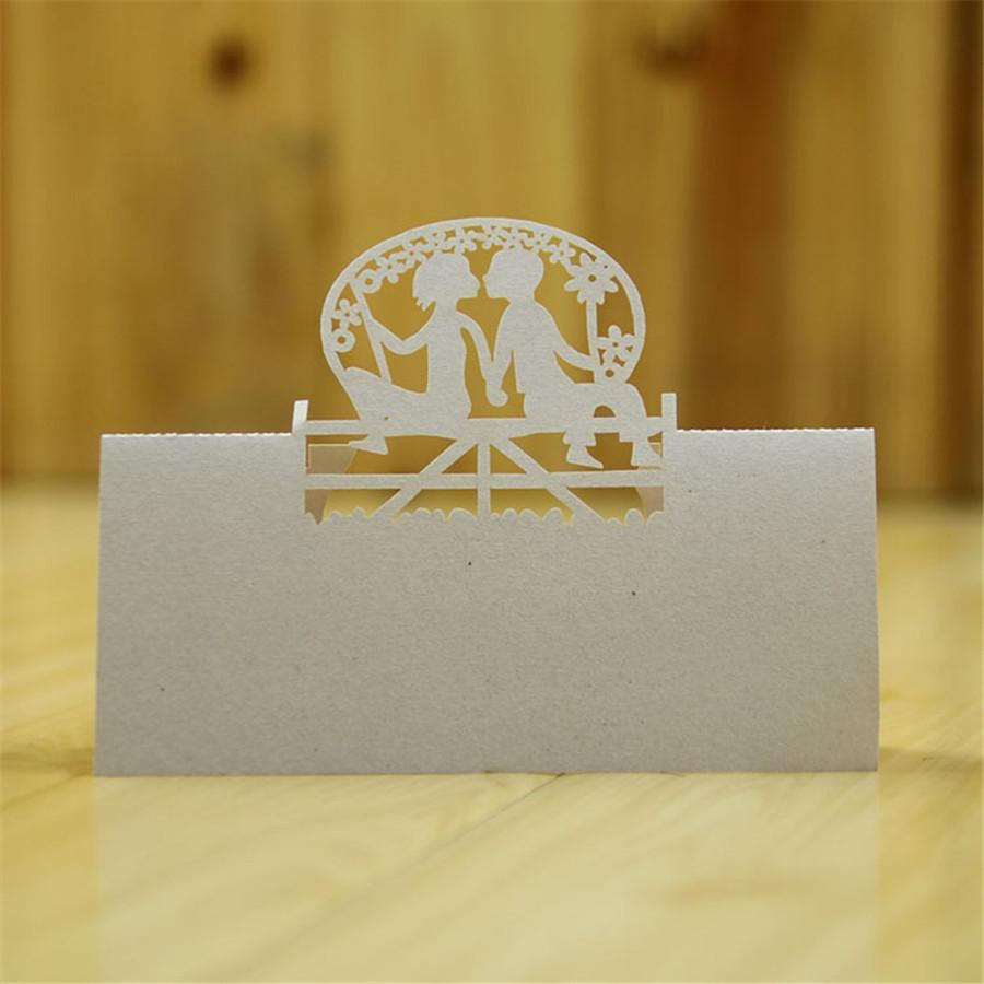 Wholesale 2016 Wedding Table Place Name Card White Laser Hollow Love