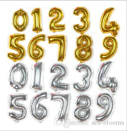 16 Gold Silver Letters Foil Balloons 0 9 Numbers Helium Mylar