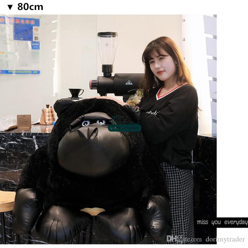 Dorimytrader 큰 현실적인 동물 검은 오랑우탄 봉제 인형 장난감 만화 원숭이 인형 침팬지 장난감 아이와 성인을위한 선물 DY61826