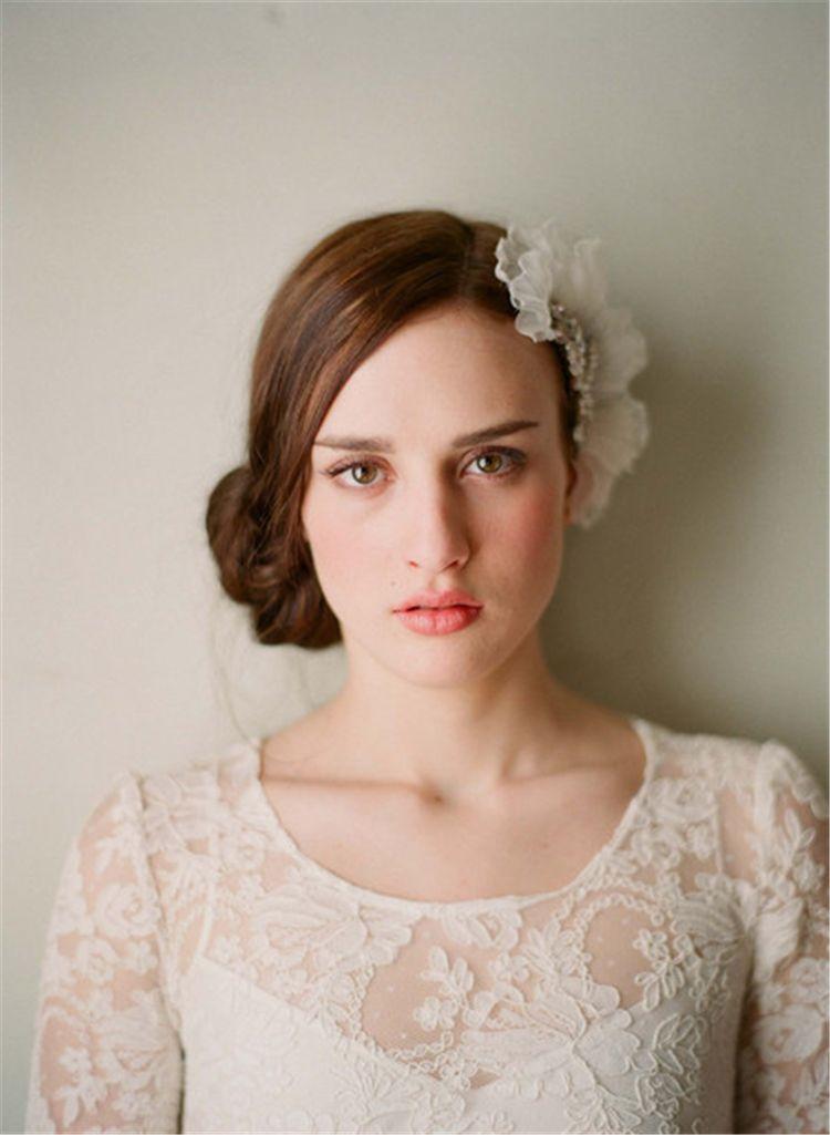 2017 accessori capelli fiore bianco organza con pettine cristalli copricapo da sposa belle donne accessori da festa spedizione gratuita CPA098