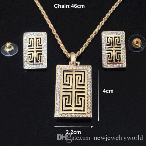 24K Gold PlatedStunning Clear Austria Crystal Rhinestone Luxury Necklace Earrings Jewelry Set Good Quality Gold Jewelry Set For Gift 707