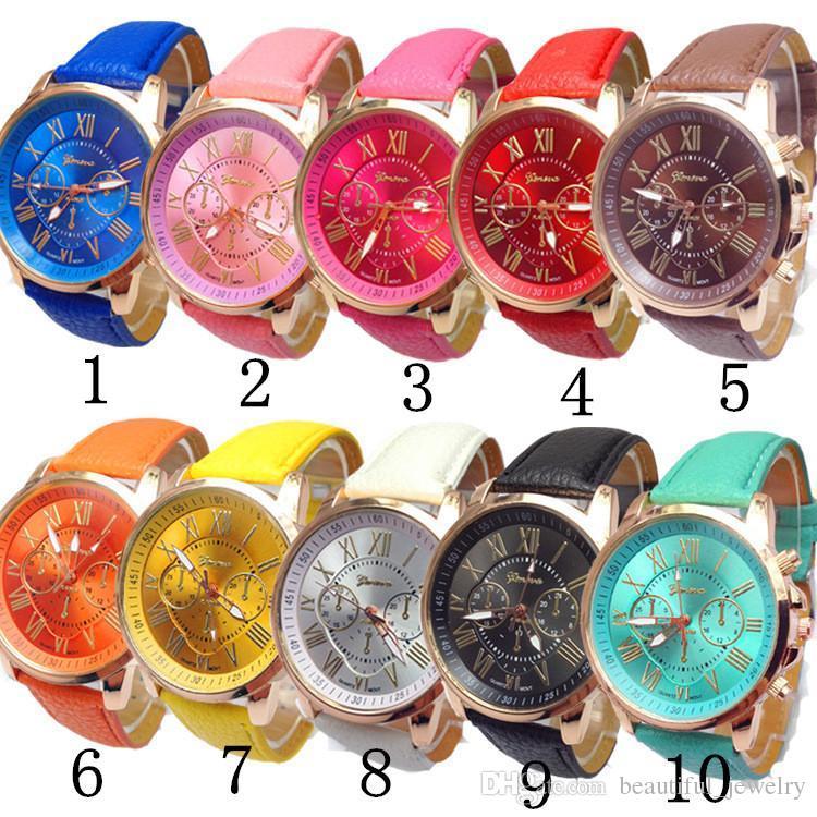 a27a3df4921 Compre Moda Genebra Relógios Das Mulheres De Couro Analógico Pulseira De Algarismos  Romanos Falso Partido Relógio De Pulso Presentes Para As Mulheres De ...