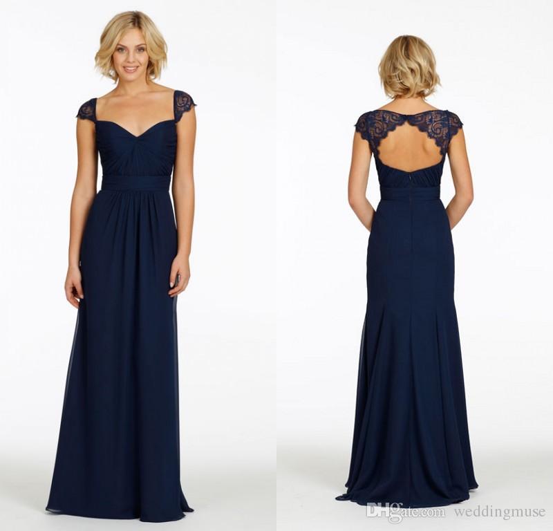 2018 Navy Blue Chiffon Long Bridesmaid Dresses Cheap Lace V Neck A ...
