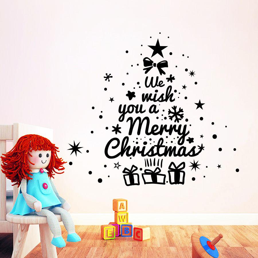 Merry Christmas Enlish Quotes Christmas Tree Wall Sticker Vinyl Wall Decals  For Home Vinyl Carving Wall Art Decoration MC008 Merry Christmas Quotes ...