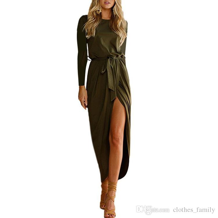 Top 2020 New High Quality Brand Spring Women Fashion Slim Sexy Long Dresses Irregular Party Classic Casual Plus Size Dresses With Belt