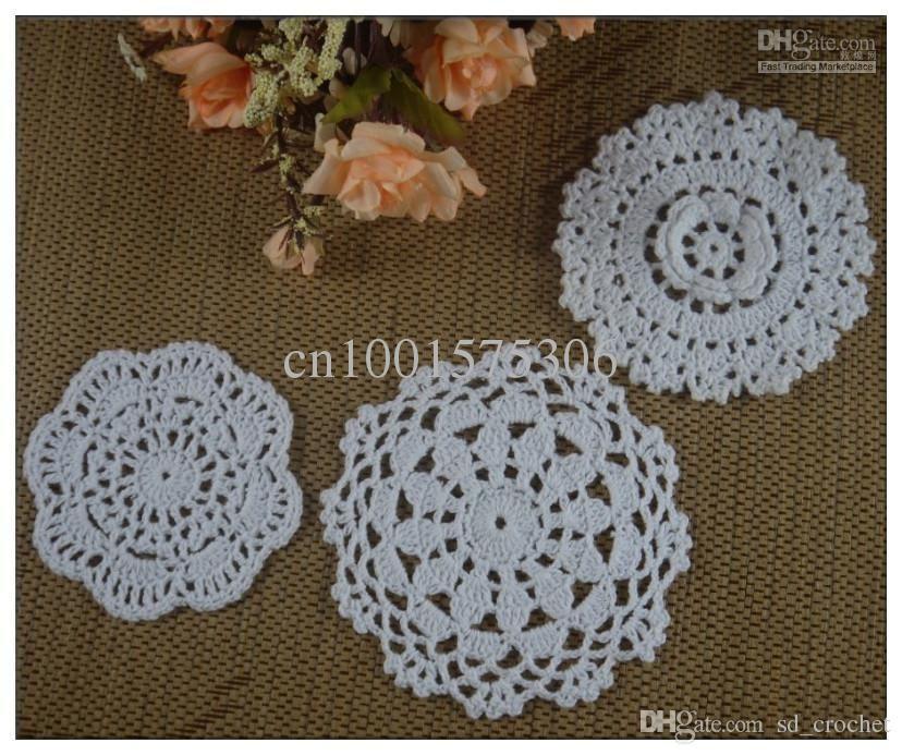 Wholesale Retro 3d Lotus Crochet Pattern Doily Hand Made Cup Mat ...