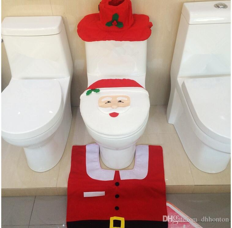 Free Dhl Toilet Santa Claus New Best Happy Seat Cover Rug Bathroom Set Christmas Decorations High Qulaity Ct03 German Ornaments