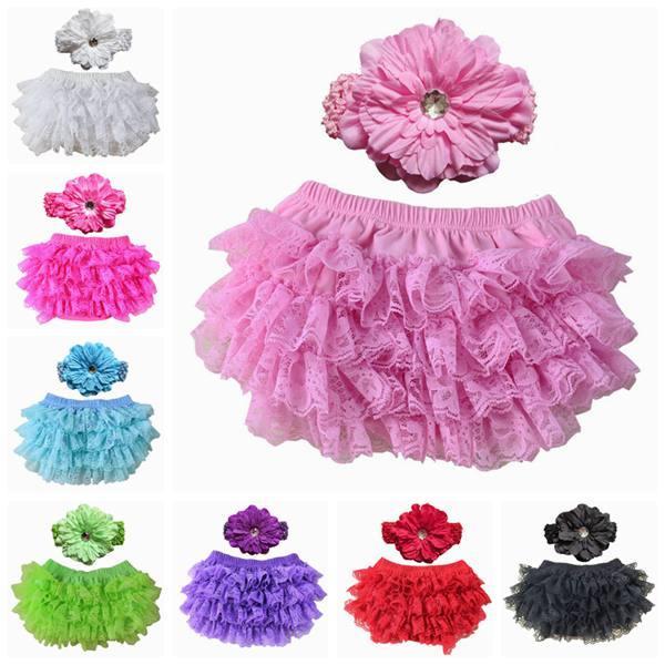 48b8ad565510 Baby Girls Lace Short Set Kids Flower Elastic Headband + Ruffle ...