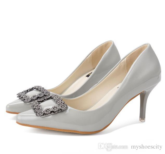 Elegent grey rhinestone buckle pointed toe pumps office lady work elegent grey rhinestone buckle pointed toe pumps office lady work shoes women high heels wedding shoes size 35 to 39 mens dress boots men sandals from solutioingenieria Gallery