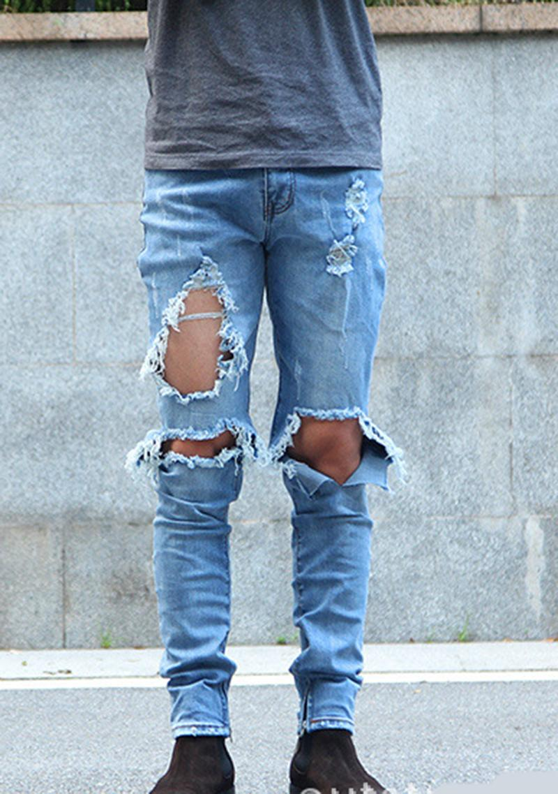 2016 fashion mens kanye west ripped jeans good quality