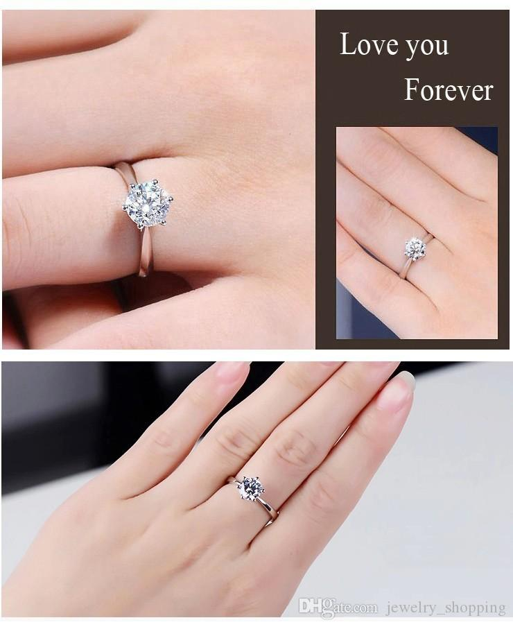 Hot sale 1kt CZ diamond wedding Rings for women 925 sterling silver Engagement rings Solitaire Austria Crystal Finger ring