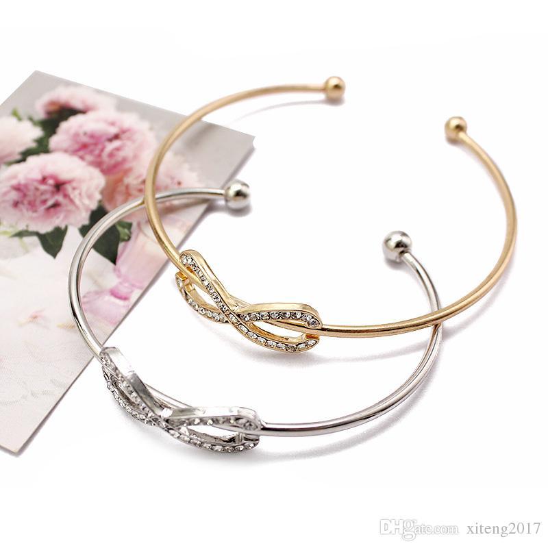 Nouveau Mode Infinity Bracelets pour Femmes avec Cristal Pierres Bracelet Or Argent Numéro 8 Brassard Réglable Bracelet Jonc Filles Cadeaux