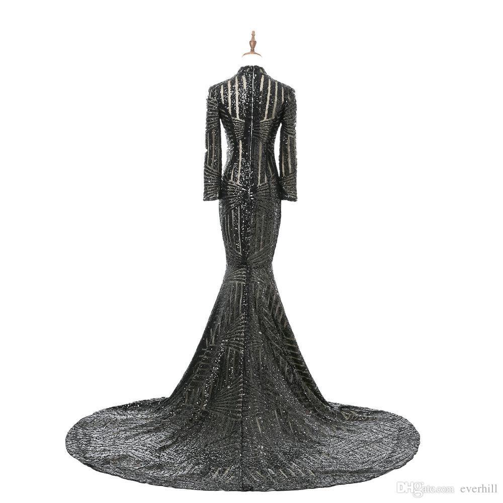 Jane Vini Sexy Schwarz Pailletten High Neck Abendkleider Mermaid Langarm Formale Abendkleider Frauen Party Kleider Mit Zug Galajurk 2018