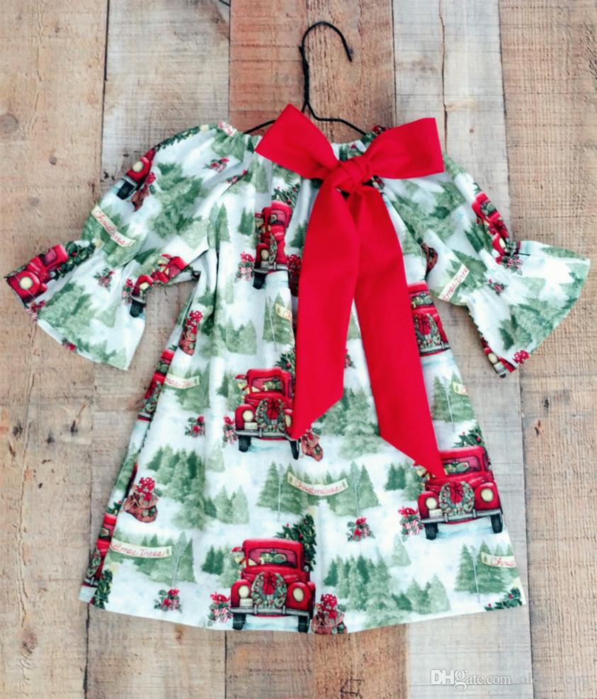 2a05bb37e2880 2018 Christmas Dresses for Girls Boutique Baby Clothing Tree Car Printed  Flower Girl Dress Ruffle Sleeve Kids Dress Baby Girls Clothes