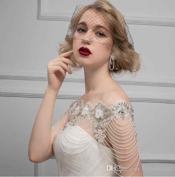 Nuova catena della spalla della spalla della sposa di alta qualità cristalli da sposa dei cristalli del merletto involucro di nozze della collana di modo della collana di modo della collana di modo nobile dell'annata del romanticismo