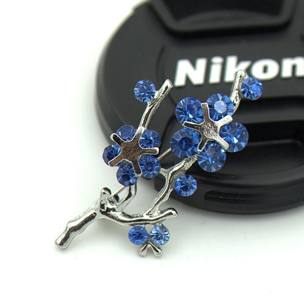 Mavi Rhinestone Kristaller ile Gümüş Ton Japon aprico Çiçek Pin Broş