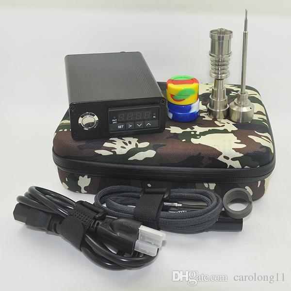 Ucuz Elektrikli Dab Tırnak Kutusu Komple Kiti ile Gr2 Titanyum Çivi seti için Sıcaklık Kontrol 100 w Rig Yağ Cam Bongs su borusu