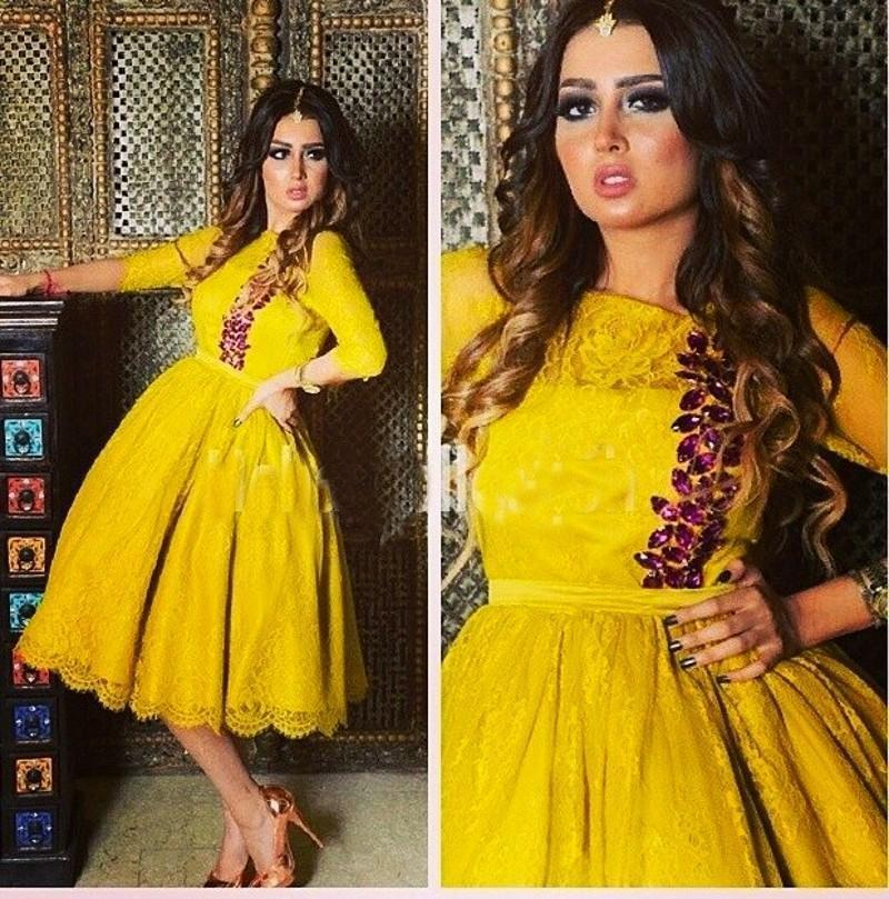 Dubai lace Evening Dresses with half Sleeve Sheer Neck Knee Length women Dress Vestidos de festa Zipper A Line Short Prom Gowns 2016