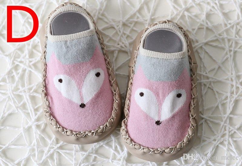 INS FOX NIÑOS PRIMAVERA NUEVO Dibujos animados Anti deslizamiento Primeros caminantes Calcetines de piso Zapatos de algodón Bebé Calcetines antideslizantes Socks Socks Baby Socks gratis